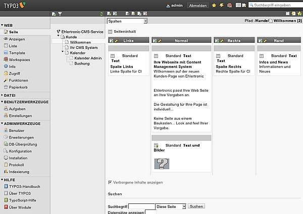 Im Typo3 Back-End verwalten Sie den Inhalt Ihres Internet Auftritts